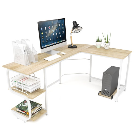 Teraves Reversible L Shaped Desk With, Round Computer Table