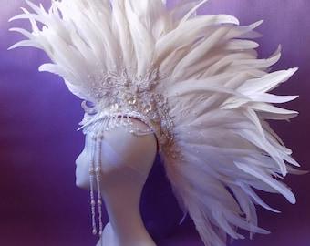 """Headdress """"White Mohawk Glamor"""""""