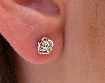 Sale Knot stud Earrings , Gold filled / Sterling Silver knot earings, everyday stud earrings, bridsmade earrings, Small Gold Stud Earring