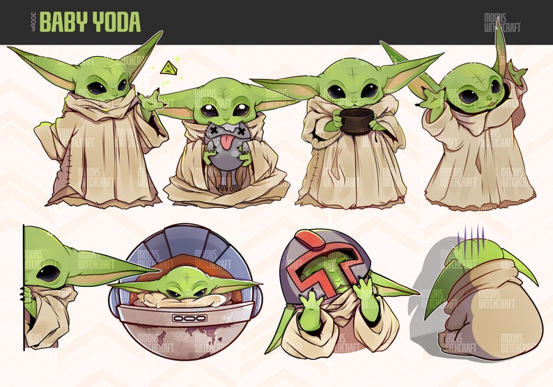 Cute Baby Yoda The Mandalorian characters clipart : instant image 0