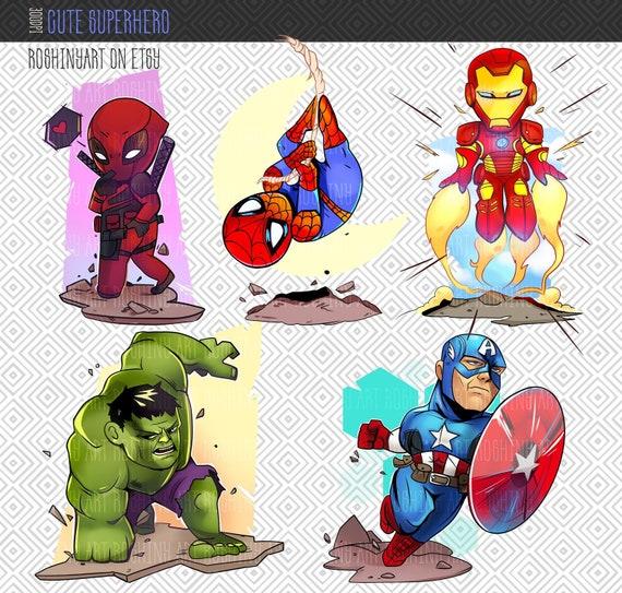 Chibi Cute Superhero Clipart Png File 300 Dpi Etsy