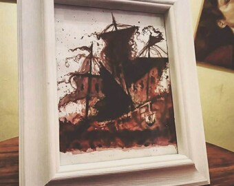"""Painting of Old Wooden War Ship in layer of red. [8""""x10""""(20cmx25cm)with frame]"""