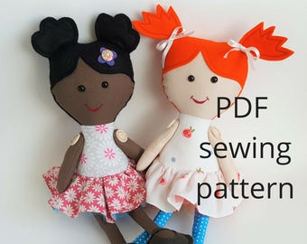 Doll sewing pattern, Soft Doll pdf downloadable sewing pattern