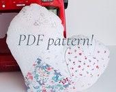 Heart Shaped Cushion/ Pillow PDF sewing pattern