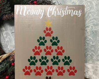 MEOWY CHRISTMAS TREE/cat lover/cat christmas tree/christmas decor/ pet lover christmas decor/rustic christmas pet decor