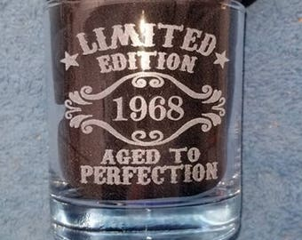 Personalized Whiskey Glasses 10.5 Ounces, 50th Birthday Gift for Men, 50th Birthday, Made in 1968, Personalize the Back with a Name FREE