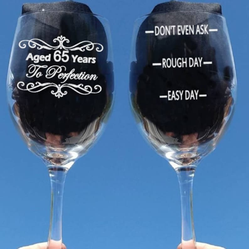 Etched Birthday Wine Glass Gifts For Women 65th