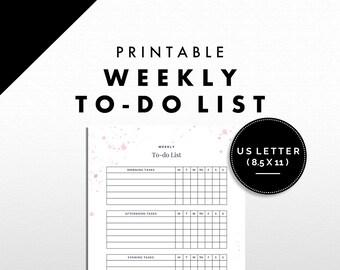 To-do List Printable | Weekly Tasks | Splatter Design | US Letter | Pink