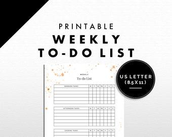 To-do List Printable | Weekly Tasks | Splatter Design | US Letter | Orange