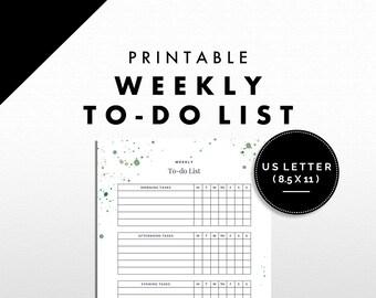 To-do List Printable | Weekly Tasks | Splatter Design | US Letter | Green