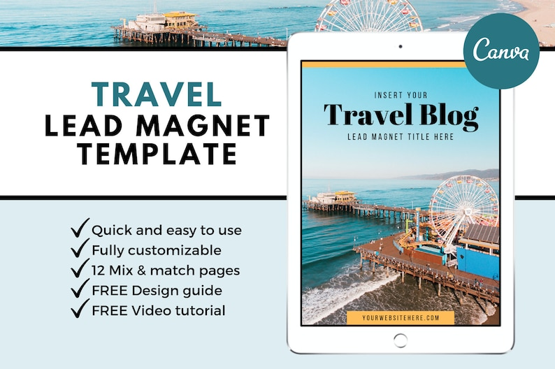 Travel Lead Magnet Template | Canva Template | eBook Template | Opt In  Freebie Template | Content Upgrade | Magazine | Blog Blogger Blogging