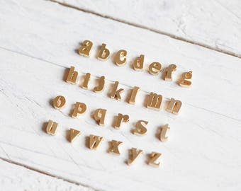Letters pendant brass gold plated A-Z lowercase chain pendant alphabet necklace