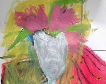 Contemporary ArtPink Tulips in Wine Glass; acrylic paint on paper; 16x12 inches; 2018