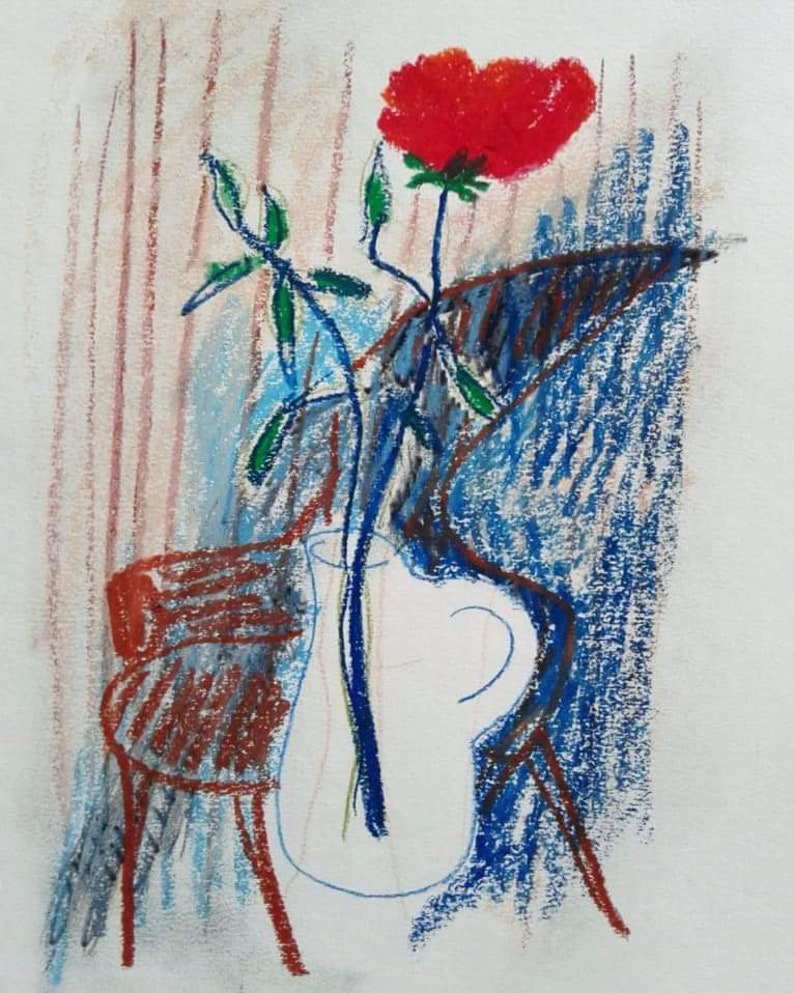 and oil pastel on paper. Drawing on paper; Red Rose in Glass Jug with Modern Chair Abstract Composition; chalk pencil ink