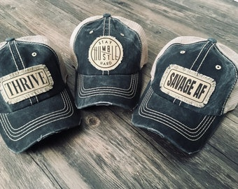 half off 461a5 02783 Savage, Stay Humble Hustle Hard Hat, Thrive, Pick Your Patch, Black Denim  Hat, Mother s Day gift, Distressed tru
