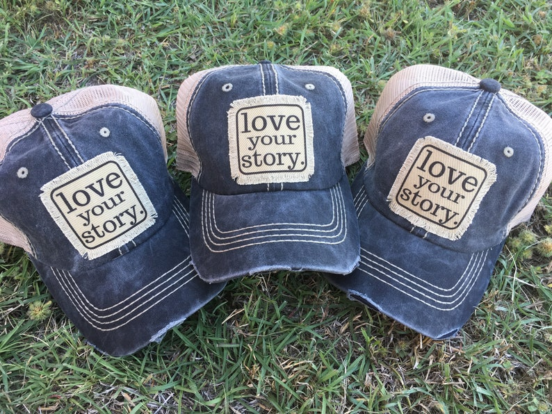 00b9fd975 Love Your Story, Cancer Survivor hat, gift, distressed hat, Recovery Hat,  Hat Custom patch. Ladies distressed trucker hat