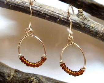 Rose Gold and Brown Beaded Earrings