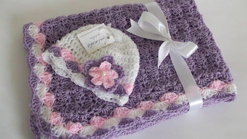 Baby Girl Blanket and Hat Lavender Pink White Afghan Baby Girl Shower Gift Handmade Crochet Baby Set