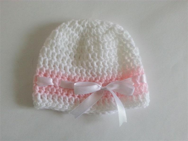 Crochet Baby Girl Set Blanket and Two Hats Pink White Satin Ribbon Christening Baptism Granny Square Handmade Crochet  Baby Shower Gift