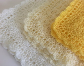 Handmade Crochet Baby Blanket White Ivory Yellow Baby Baby Shower Gift Baby Girl  Baby Boy Blanket Newborn