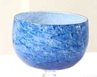 Vintage Hand Painted Blue Glass Goblet, Decorative Glass Goblet, Handmade Glass Goblet, Large glass Goblet - 12 cm tall