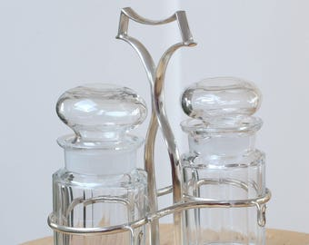 Sauce bottles with silver plated stands, Mustard and Ketchup Bottle, Silver Plated and glass sauce bottles