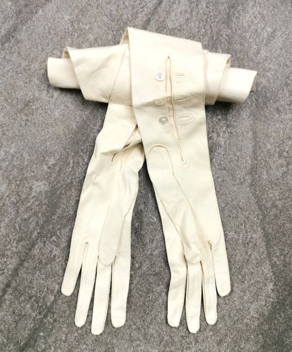 Unused Long Antique Kids Leather Opera Gloves,  wh