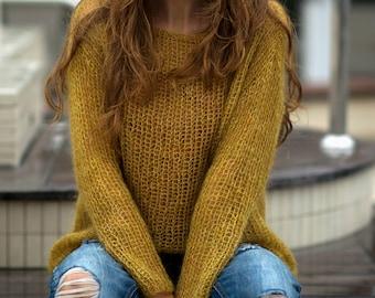 Mustard  sweater, Mohair sweater, Soft wool sweater, Spring sweater, Casual sweaters, Mohair bohemian sweater, Girls sweater, warm