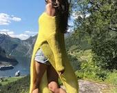 Yellow mohair tunic Green asymmetric sweater Loose summer cardigan Knitted tunic sweater Maxi tunic Long sweater Long tunic dress knit top