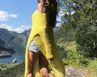 Yellow mohair tunic, Loose tunic, Green tunic, Tunics for women, Asymmetric tunic, Casual tunic, Oversize tunic, Spring tunic, Long tunic