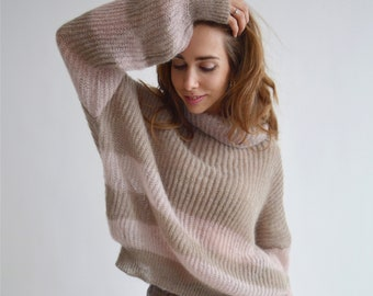 slow fashion knitted winter sweater loose mohair knit women Women/'s knit sweater mohair /& Merino mix in casual layer look