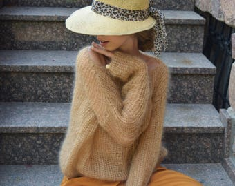 Camel mohair sweater, beige sweater, loose knit sweater, see-through sweater, sexy sweater, soft sweater, boho sweater, brown sweater, camel