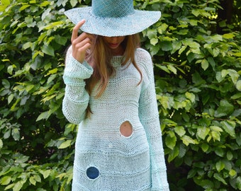 Mint cotton summer  tunic for women, extravagant tunic, beach cotton tunic for ladies, bohemian tunic, asymmetrical knit tunic, tunic dress