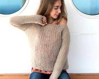 Beige mohair sweater, Chunky wool sweater, Loose knit sweater, Boho style sweater, See-through sweater, Elegant sweater, Grunge sweater,