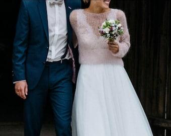 Bridal pink sweater,wedding white mohair sweater,bridal mohair vest,wedding white wool sweater,pale pink sweater,women powder pink sweater