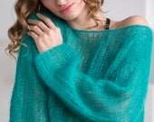 Green mohair sweater, Off shoulder sexy sweater, Light chunky knit sweater, Bohemian wool sweater, Autumn chic sweater, Bright sweater