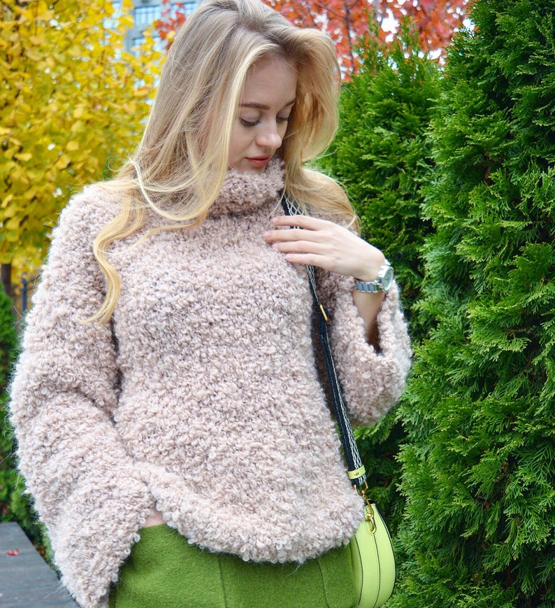 3e13f3ad7 Beige boucle mohair sweater turtleneck big sweater textured