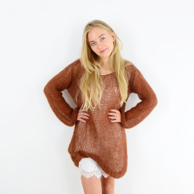3d1f90cfb16 Robe de mohair tricoté à la main brun café tunique pull