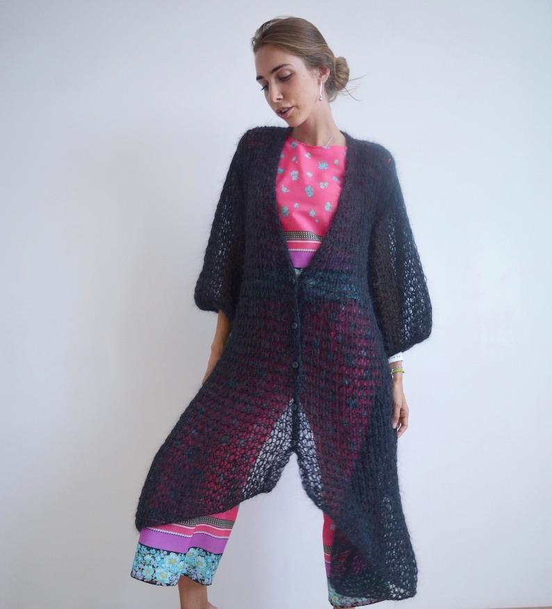 extravagant coat maxi cardigan handknit cardigan Asymmetric cardigan mohair cardigan button cardigan black cardigan fashion cardigan
