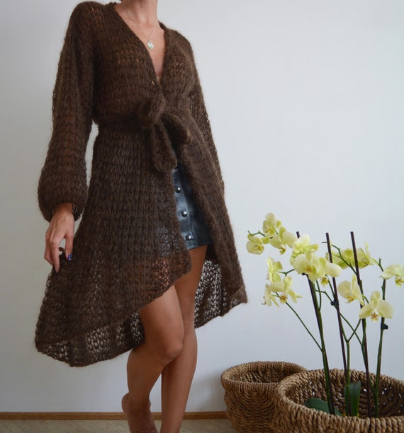 Coffee brown cardigan mohair cardigan light cardigan kimono  b9b370e58