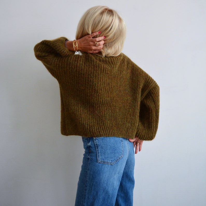 1748a4322 Green khaki mohair turtleneck sweater Olive loose knit