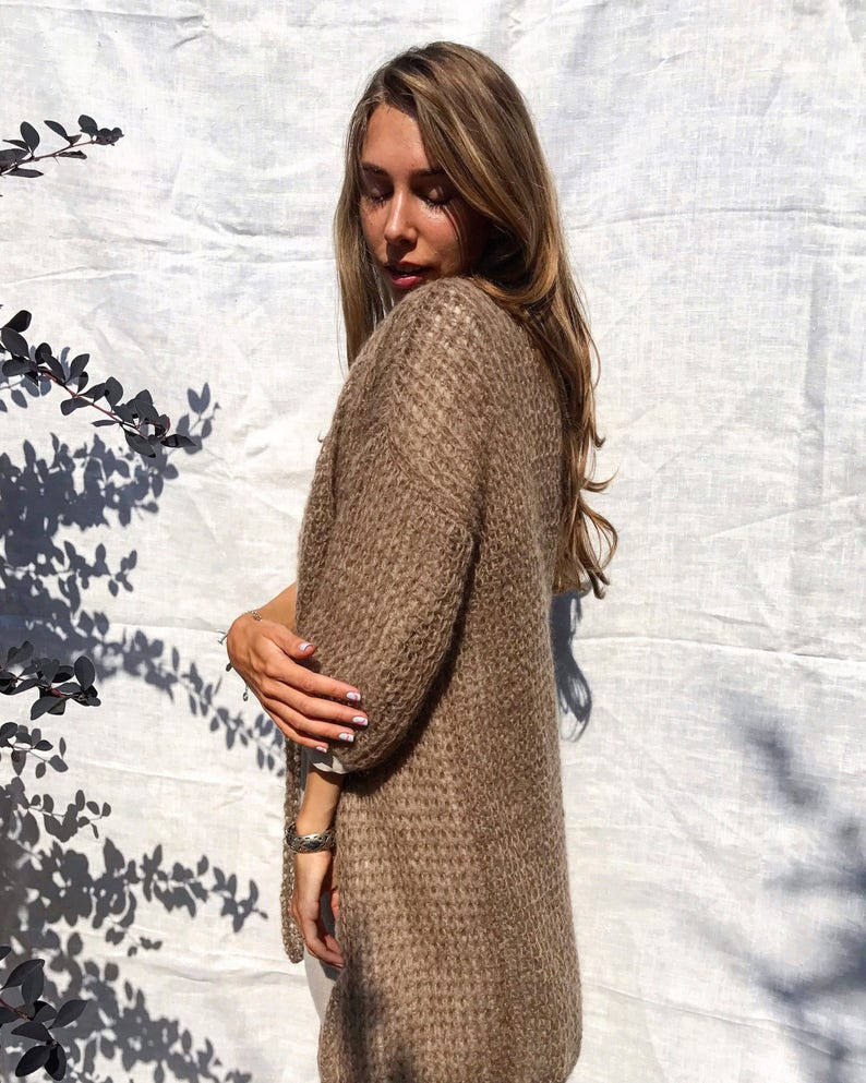 Coffee brown mohair cardigan Open long cardigan Light  87fcfe6b6