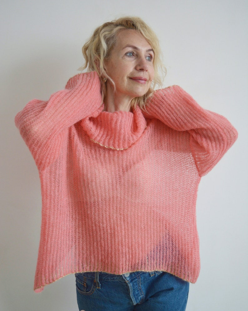 oversized light sweater Pink knit sweater turtleneck sweater mohair sweater sequin sweater embellished sweater embroidered sweater