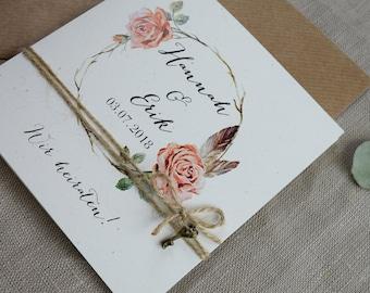 "Wedding invitation ""Rosy"" vintage, wedding invitation card, custom print"