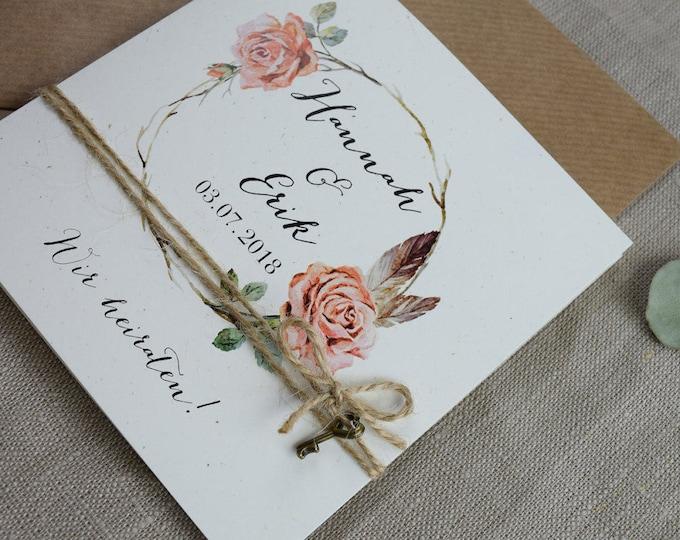 "Wedding invitation ""Rosy"" vintage, invitation card to the wedding, individual print"