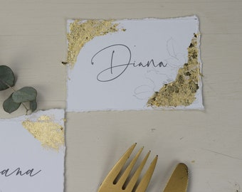 Place card, name card with gold decoration