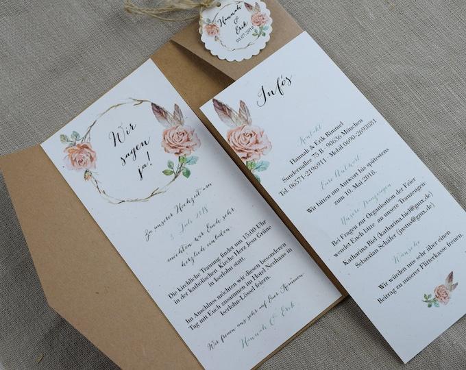 Pocket Fold Card-Wedding Invitation, Pocket Card, Wedding Card, Wedding Invitation, Vintage Wedding