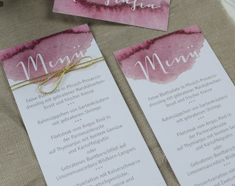 Menu menu wedding motif-berries love wedding menu, custom menu, table card wedding