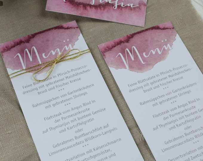 Menu menu wedding motif-berries love wedding menu, custom menu, table card wedding