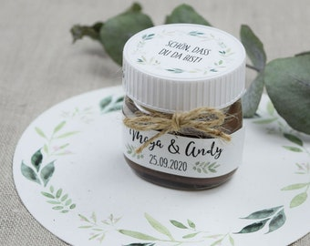 "Nutella Mini Glass Personalized, Wedding Gift, Papeterie Set Motif ""Nature Love"""